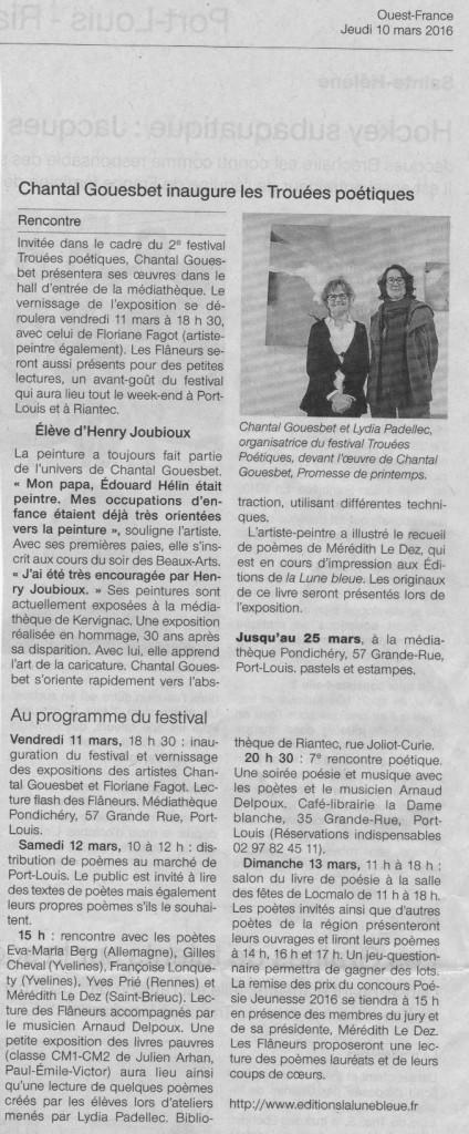 Festival TP16 Ouest France 10 mars